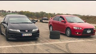 Mitsubishi lancer X (turbo 300 h.p+) vs Honda civic type-R .( кто кого?)