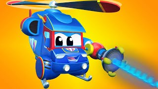 Truck cartoons for kids -  Super Helicopter plays mini golf! - Super Truck in Car City !