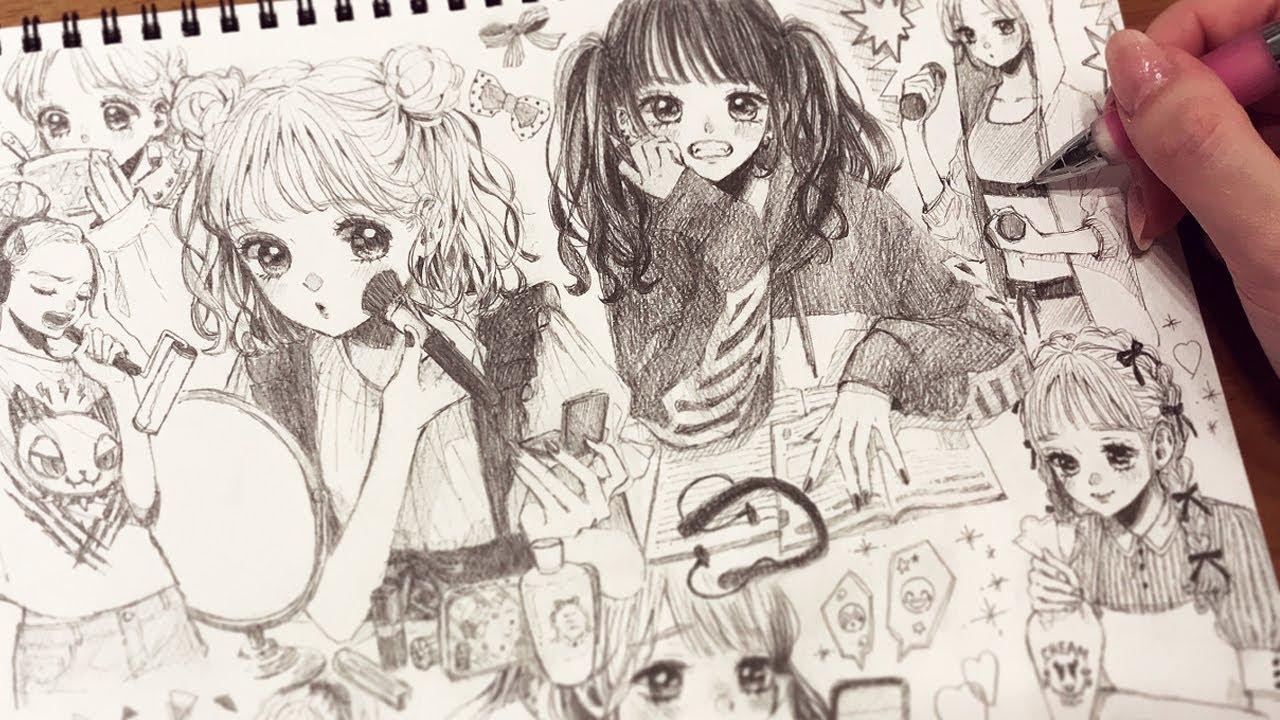 【アナログ】おうちで過ごす女の子1ページいっぱいに描いてみた🏡✨Drawing girls spending time at home【メイキング】