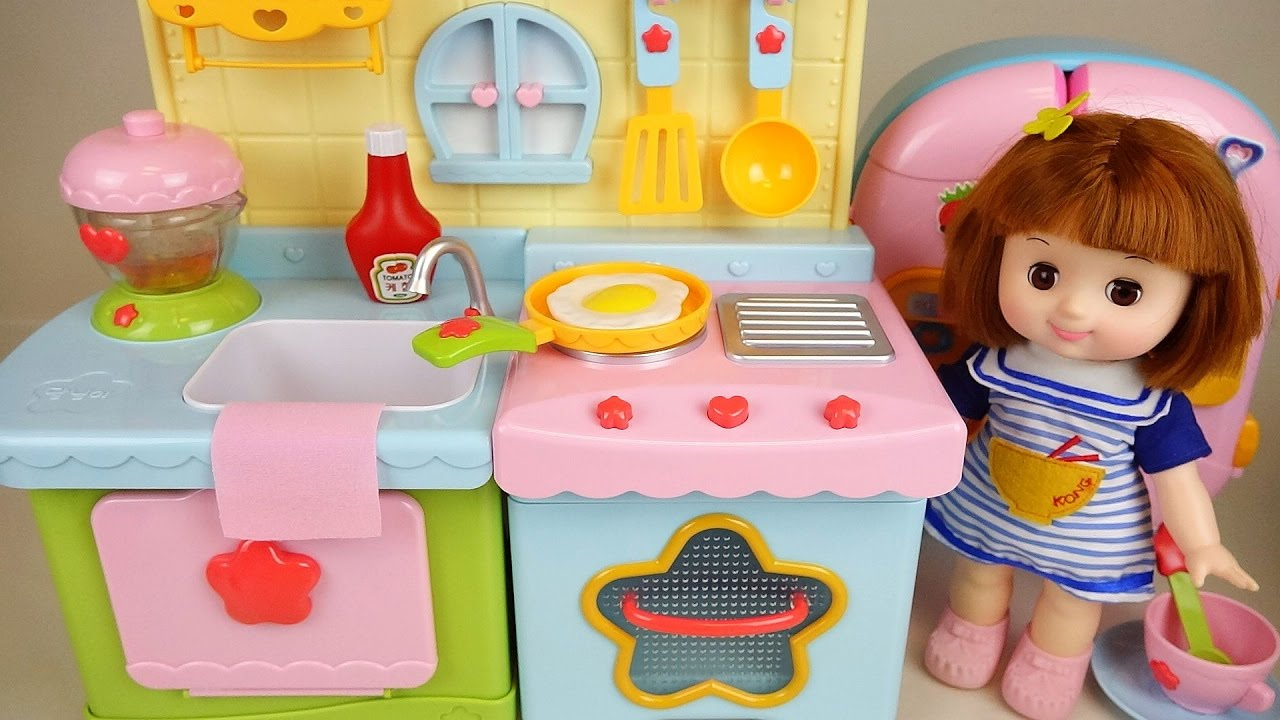Baby Doll Kitchen And Play Doh Cooking Play Youtube