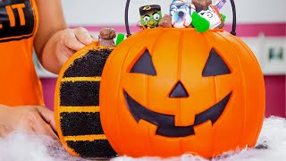 How To Make A JACK-O-LANTERN Halloween Candy Pail Out Of CAKE  | Yolanda Gampp | How To Cake It