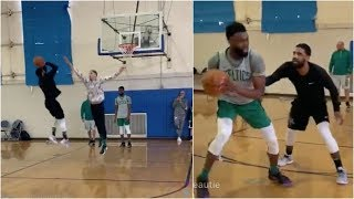 Kyrie Irving, Jayson Tatum & Jalen Brown play 1 on 1 at Celtics practice