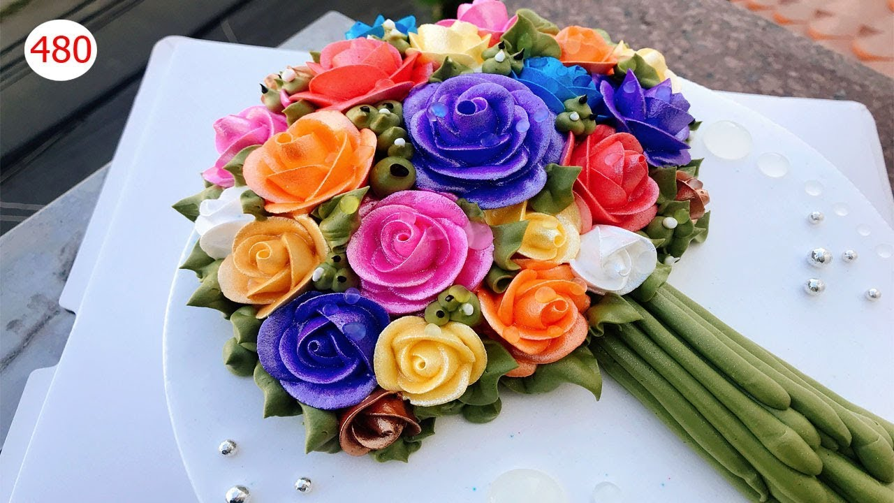 Cake bouquet decorate splendid – Bánh Sinh nhật bó hoa hồng đơn giản (480)