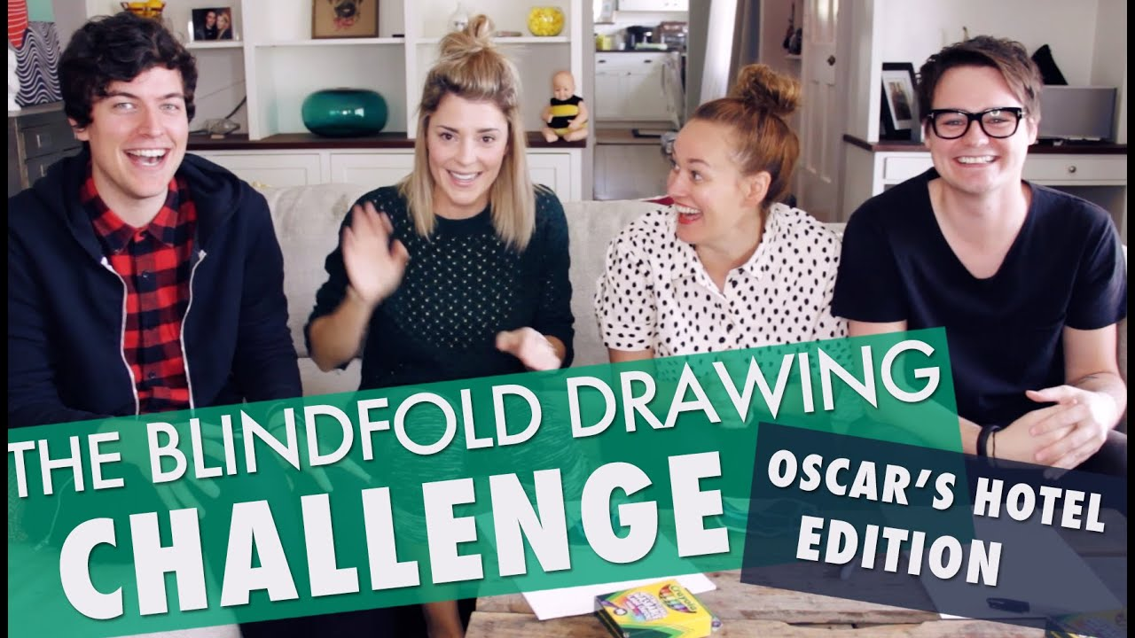 Blindfolded Drawing Challenge Grace Helbig Youtube