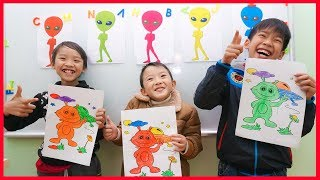 Tony Bin Go to School Learn Colors Aliens 😀 Kids Classroom Funny Nursery Rhymes