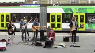 Melbourne Indie rock band Amber Isles busking on Bourke Street