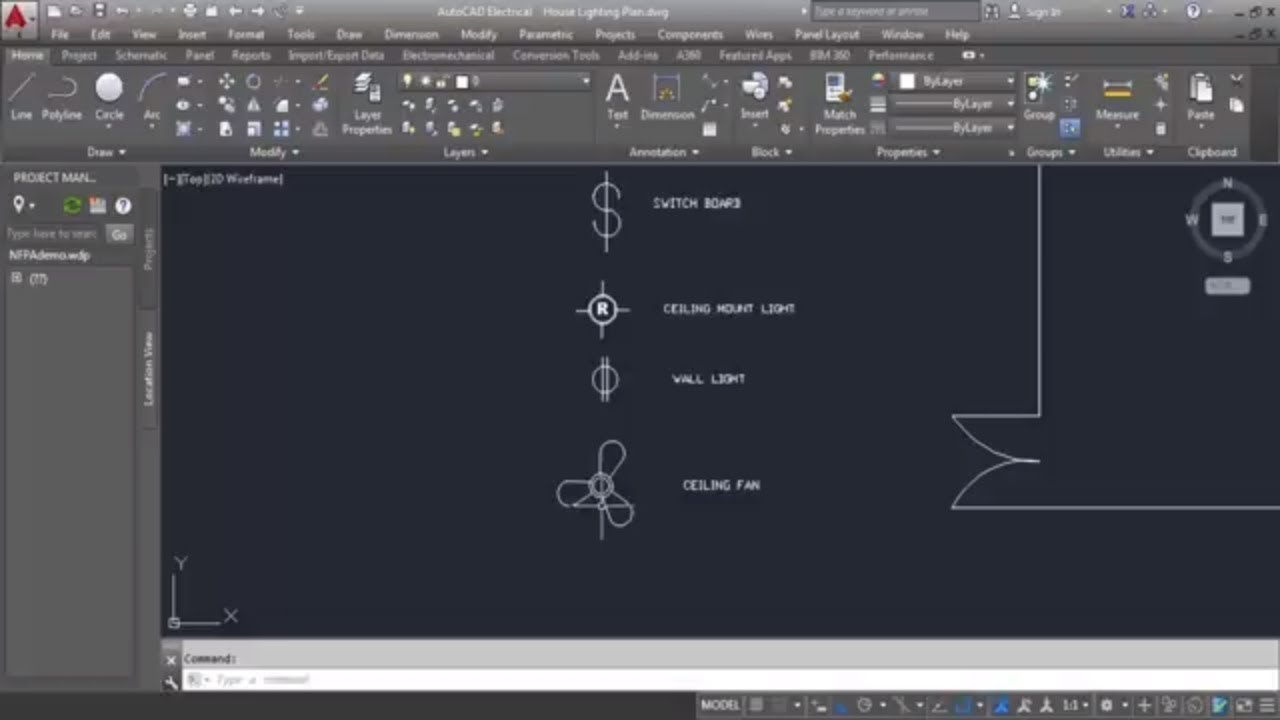 AutoCAD Electrical Tutorial Drawing Cl 04 Electrical lighting ... on autocad pump diagram, autocad tools, autocad tutorial, autocad door, autocad design diagram, autocad plug, autocad electrical, autocad circuit, autocad lighting diagram, autocad engine,