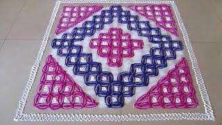 Super easy 14 by 14 dots galicha rangoli | Innovative rangoli designs by Poonam Borkar