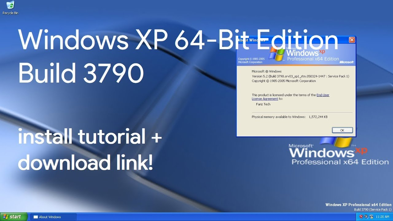 Windows XP x64 Edition Install Tutorial + Download Link!!!