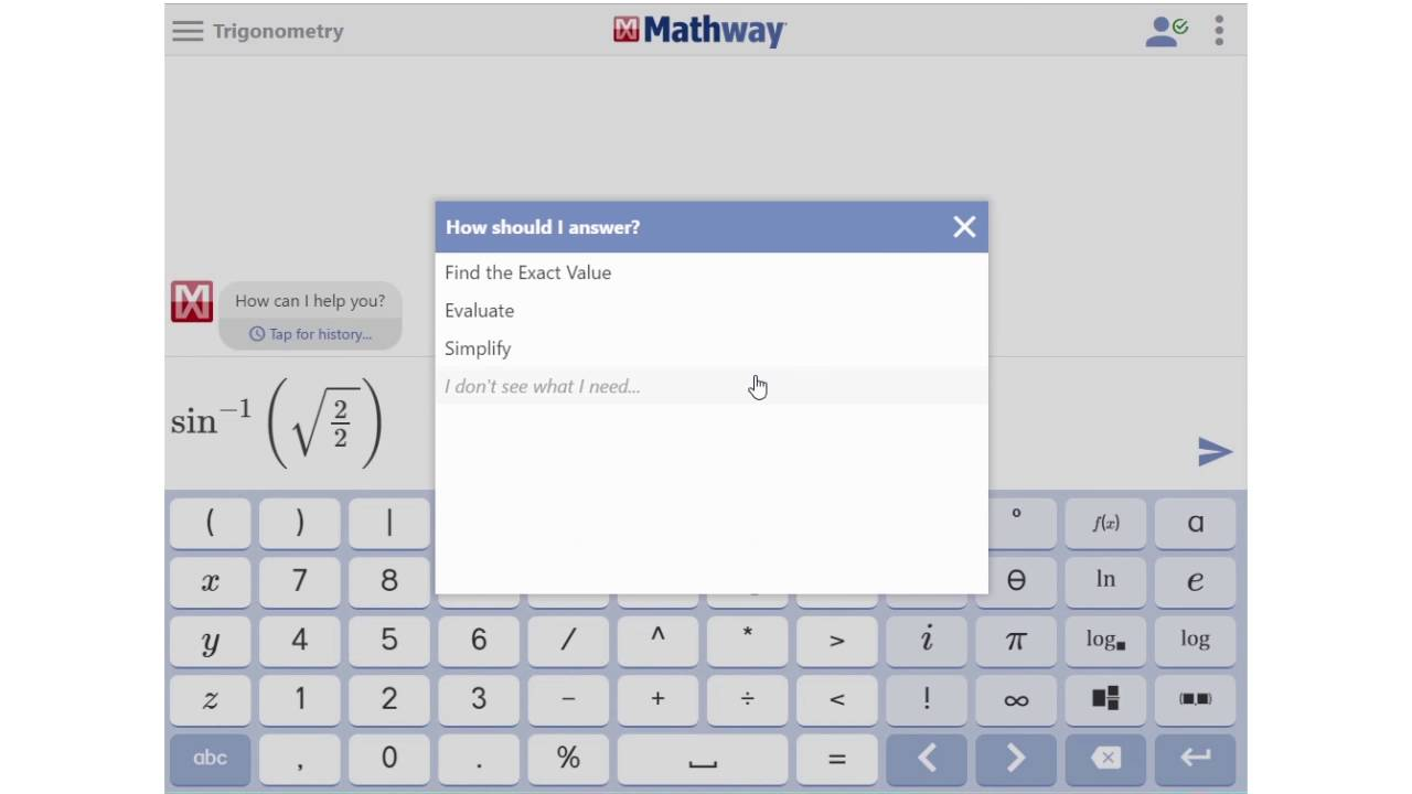 How to Find Sine, Cosine, and Tangent Mathway Cos on