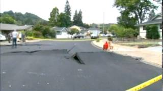 Skateboarding on buckled road in Napa California after earthquake