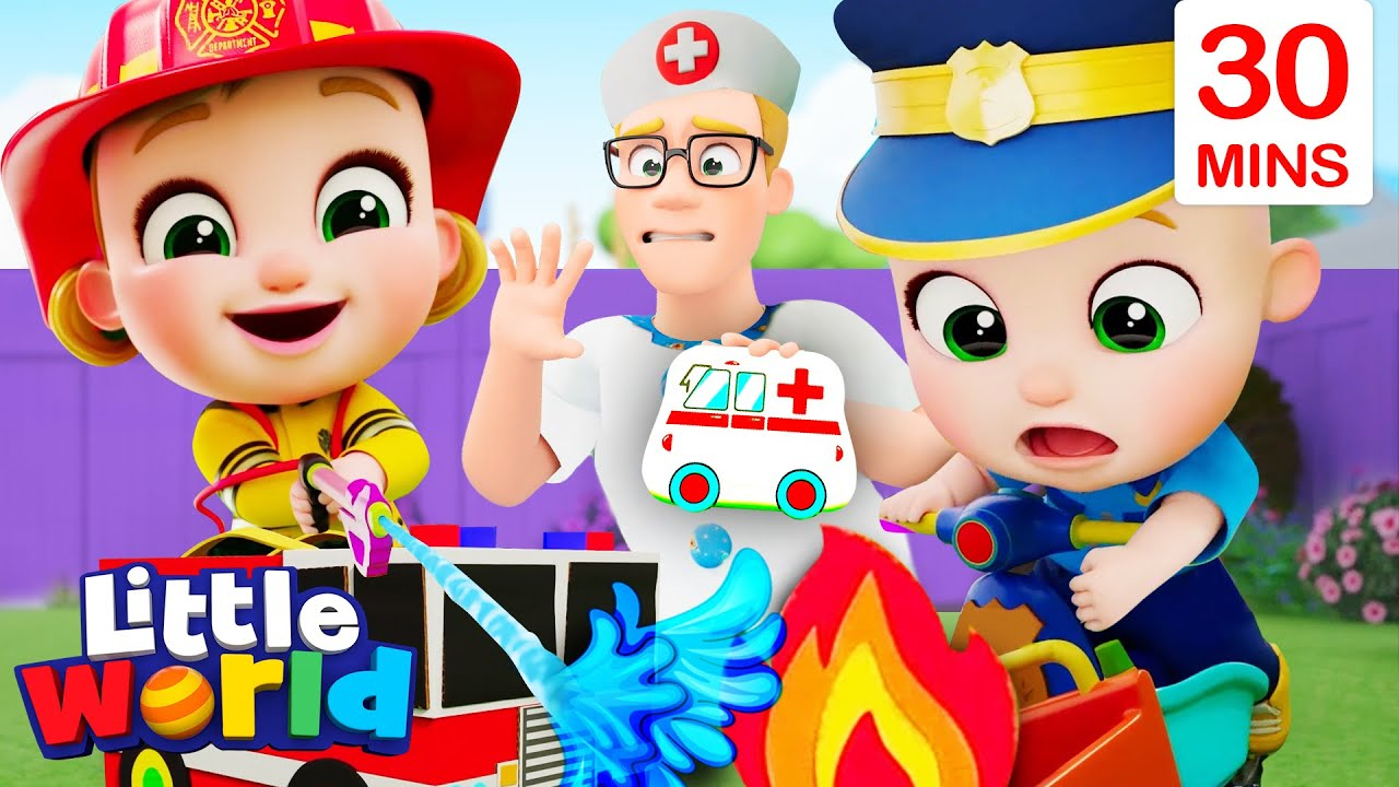 Doctor, Police And Fireman Song + More | Little World Nursery Rhymes