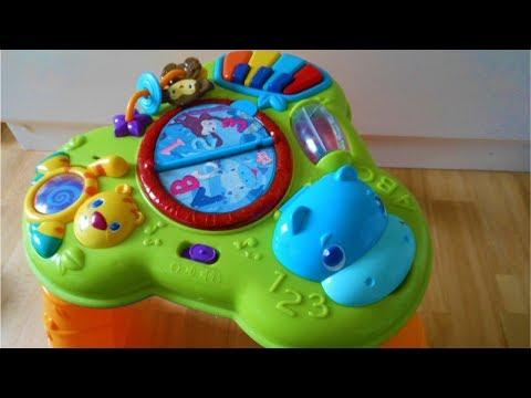 bright starts safari baby activity table youtube. Black Bedroom Furniture Sets. Home Design Ideas