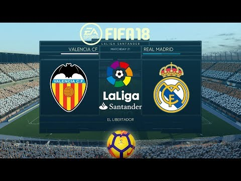FIFA 18 Valencia vs Real Madrid | La Liga 2017/18 | PS4 Full Match