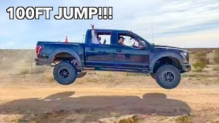 WE JUMPED THE FORD RAPTOR 100 FEET!!! *Bad Idea*