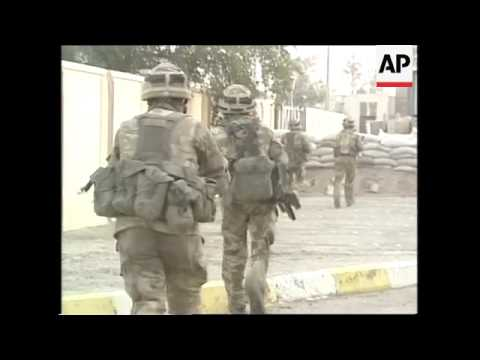 Iraqi Tanks Hit, British Soldiers, Armoured Vehicles Firing