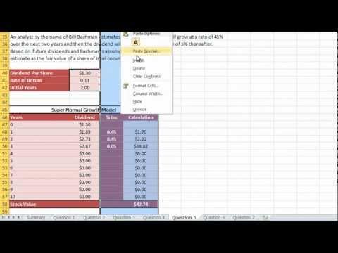 Business Finance HW 2 Q5: Stock Evaluation Modeling