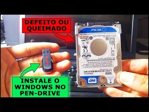 Como Instalar O Windows No Pen-Drive Ou HD Externo Para Substituir HD Com Defeito Ou Queimado