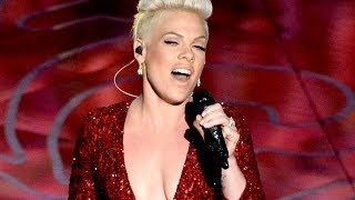 "Pink Performs Emotional ""Somewhere Over The Rainbow"" Oscars 2014"