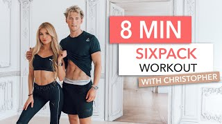 8 MIN SIXPACK WORKOUT - with Christopher & a very special twist / No Equipment I Pamela Reif