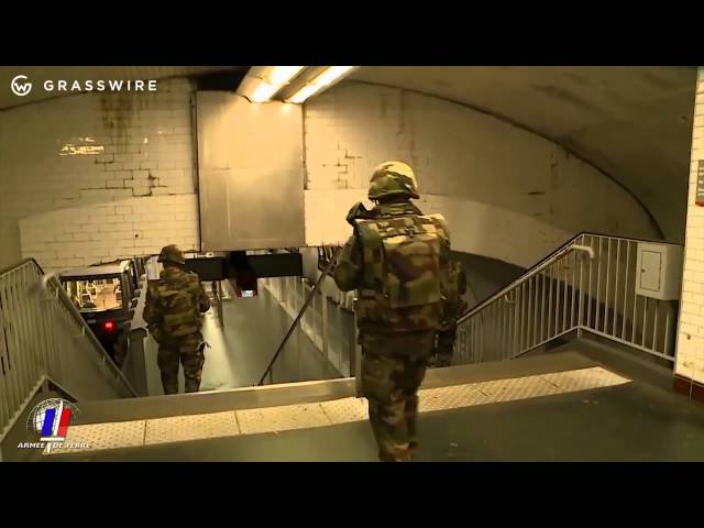 Raw video: French military patrol sections of Paris after attack