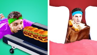 SNEAK 100 LAYERS OF FOOD ANYWHERE! Sneak Candies into a Club & Funny Food Sneaking Ideas by Kaboom!