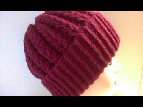 Как связать объемную шапку с отворотом спицами фото пошагово
