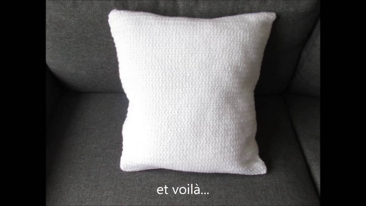 housse de coussin au point toile crochet youtube. Black Bedroom Furniture Sets. Home Design Ideas
