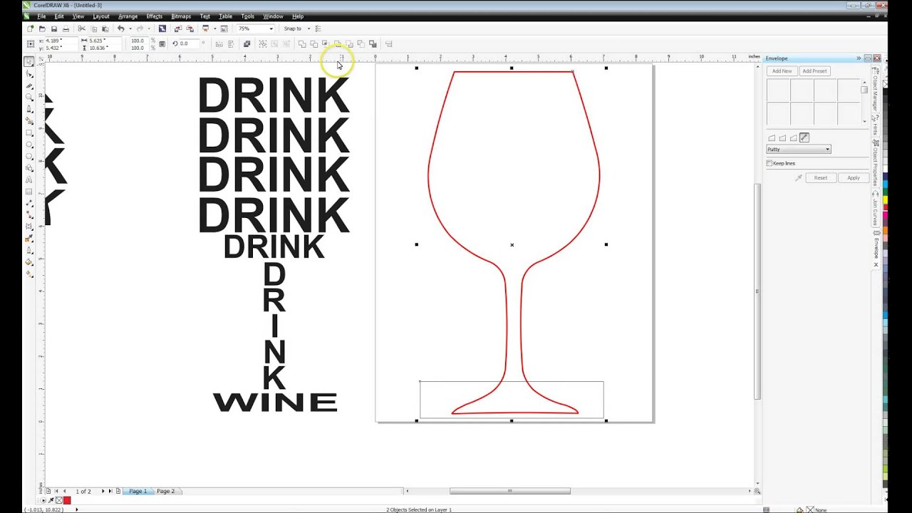 Drawing Lines Shapes Or Text On Bitmaps : How to make text fit inside shapes in corel wine glass