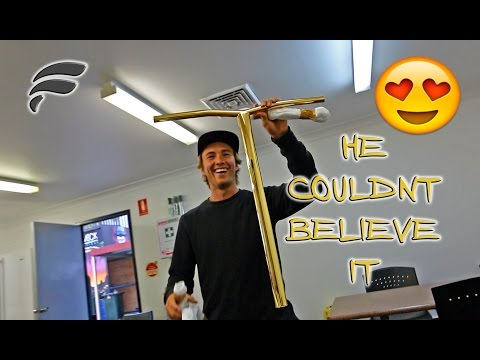 COREYS FIRST REACTION TO GOLD CUSTOM SCOOTER!