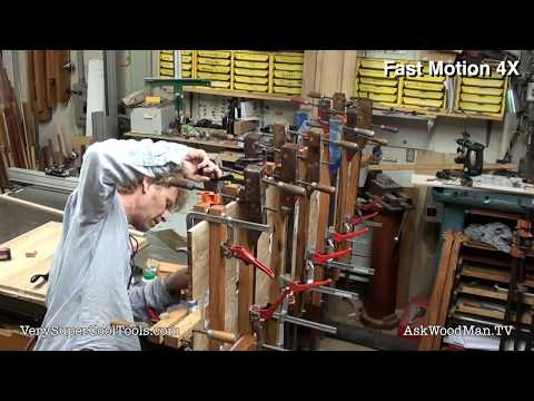 1096. Solid Wood Panel Gluing Demo - Using New Clamping Caul Design
