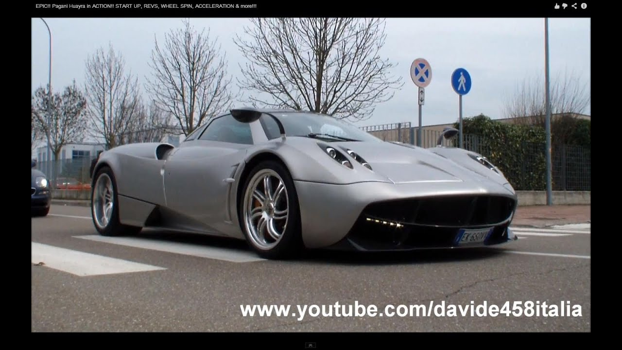 EPIC!! Pagani Huayra in ACTION!! START UP, REVS, WHEEL SPIN ...