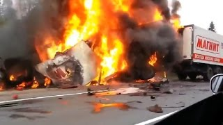 Car crash compilation of accidents with fires