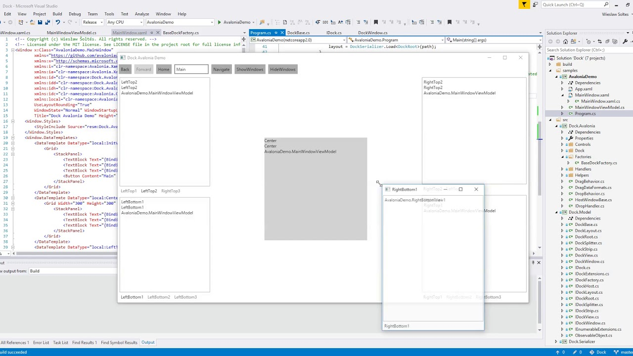 AvaloniaUI Docking Control Demo (2018-05-22)