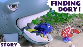 Disney Pixar Movies Finding Dory with Nemo Spongebob and Shark | Toys Family Fun Kids Story Video