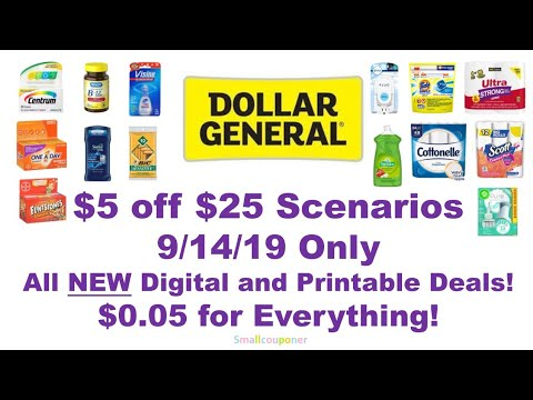 Dollar General $5 Off $25 9/14/19 Scenarios/Breakdowns! All Digital And Printable Deals!