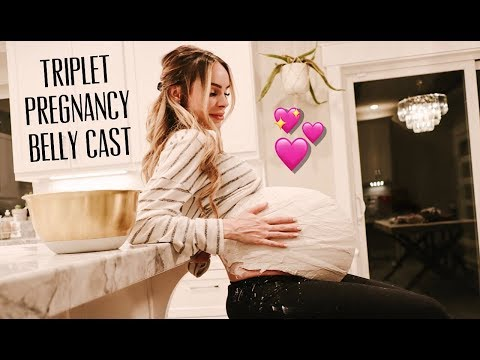 TRIPLET PREGNANCY BELLY CAST  43 INCH BELLY  HALLOWEEN COSTUMES  VERY EXCITING TRIPLET NEWS