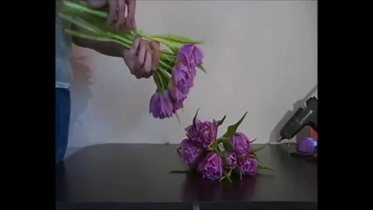 How To Make Romantic Tulip Bridal Bouquet Diy Wedding Flowers Step By Step Youtube