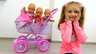 Dolls do not want to sleep. Polina and new baby stroller Baby Born