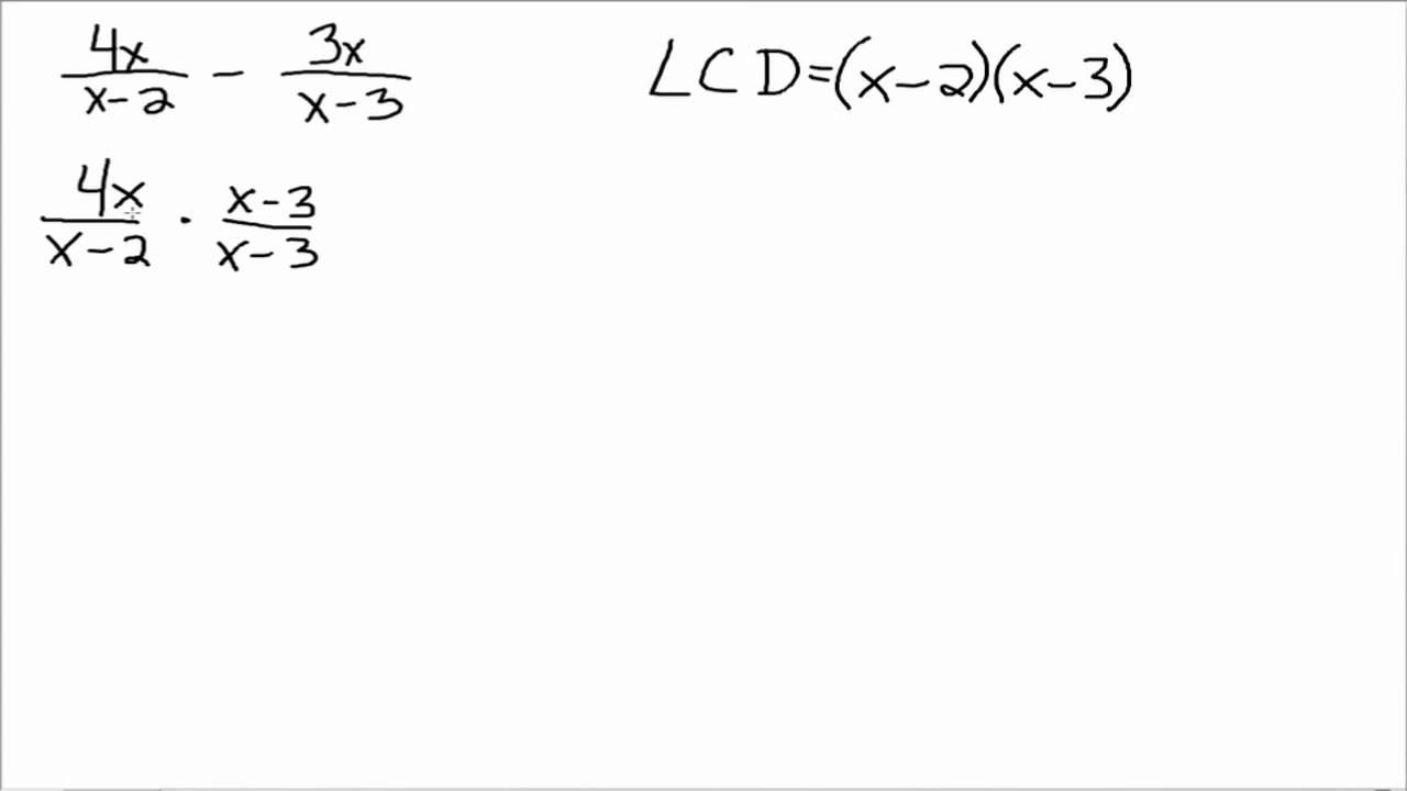 Add and Subtract Rational Expressions with Different Denominators – Adding and Subtracting Algebraic Expressions Worksheet