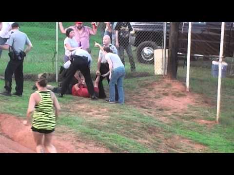 Wormy Pucket fight incident track-side at the Winder Barrow Speedway July 14 2012