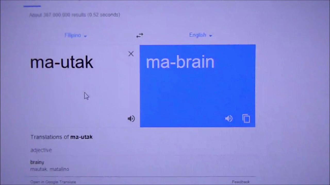 Google translate Filipino to English