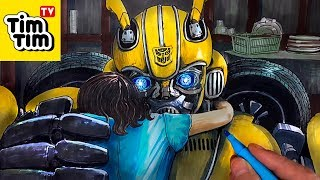 How to draw Bumblebee Hugging Charlie - BumbleBee 2018 Movie Trailer | Drawing & Coloring