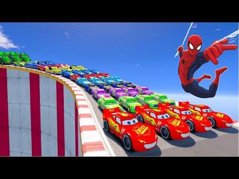 Disney Cars 3 Racing Lightning McQueen Mega Ramps Challenge Jump With Spiderman |