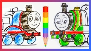 How to Draw Thomas the Tank Engine and Percy the Small Engine ♦ Drawing Tutorial