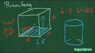 35 Find rumfanget af en kasse en cylinder og et prisme