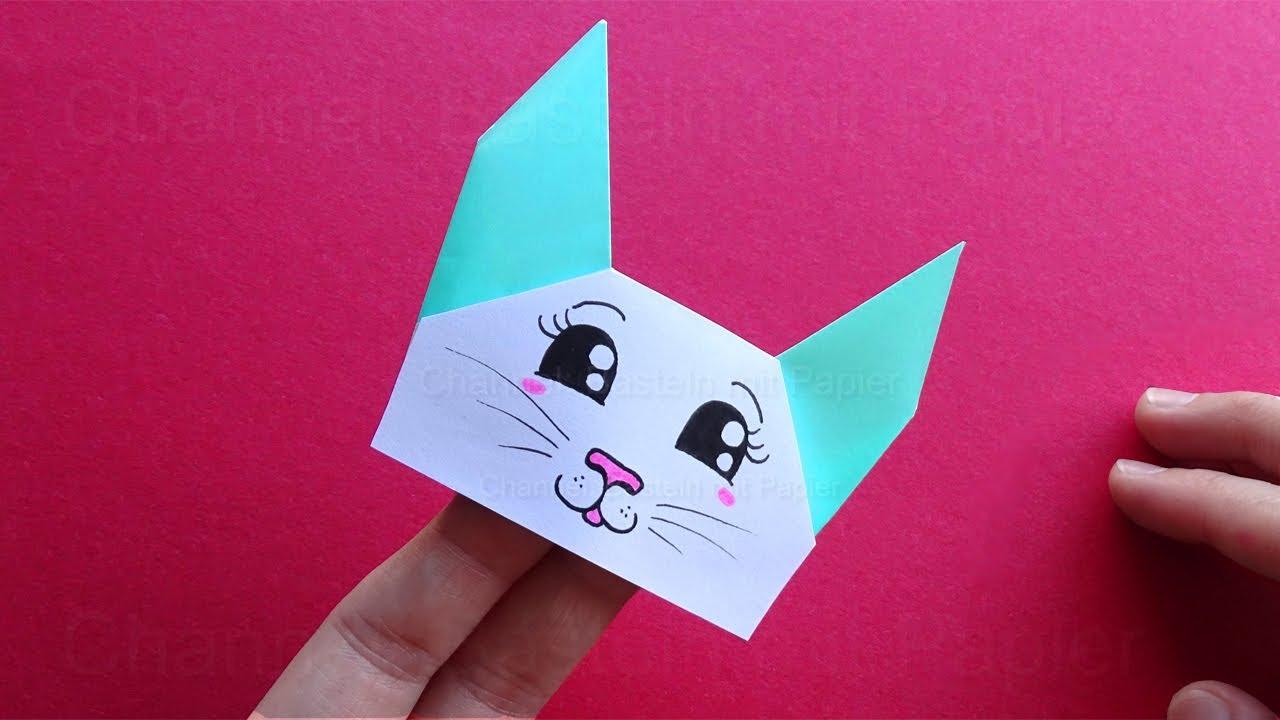Origami Katze falten - Geschenk basteln mit Papier - Origami Tier  🐱