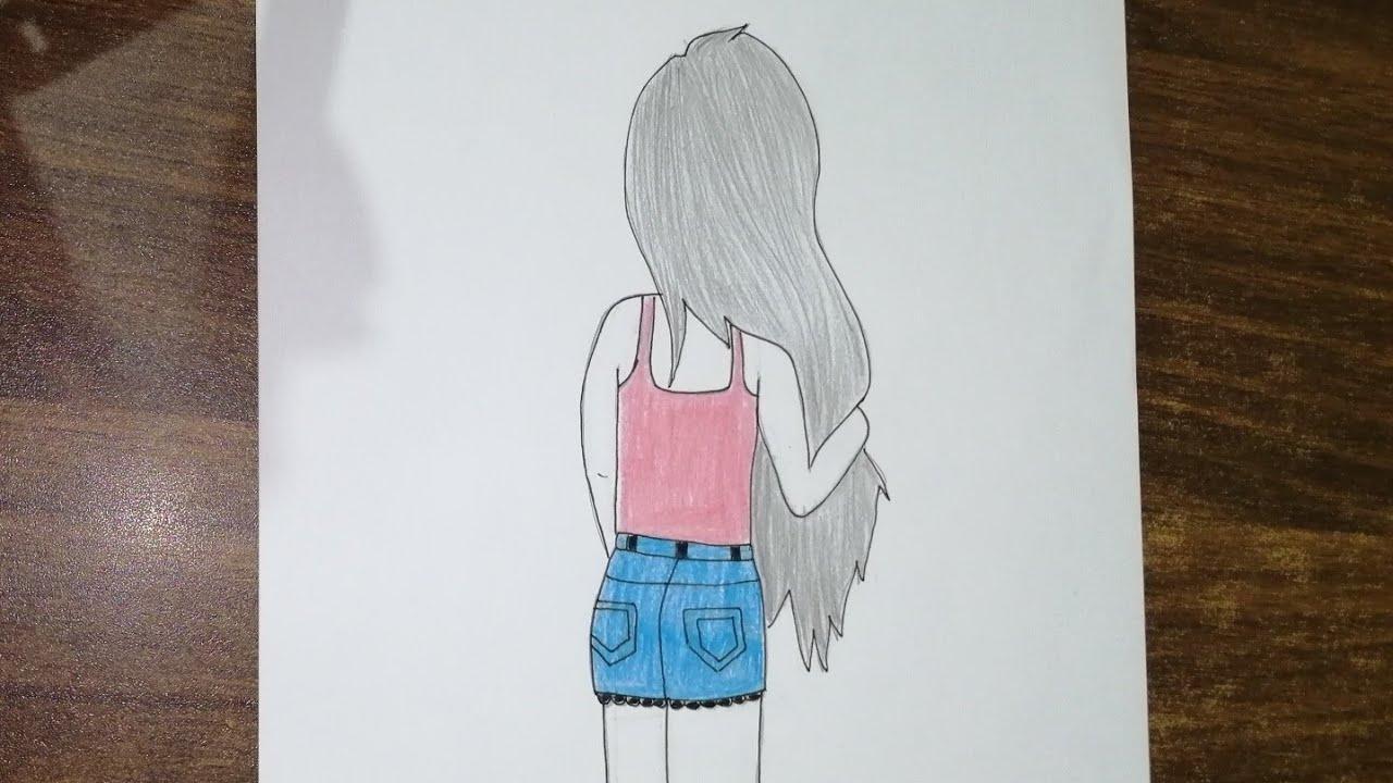 تعليم رسم بنات رسم بنات رسم بنات سهل بالرصاص رسم بنت كيوت رسومات