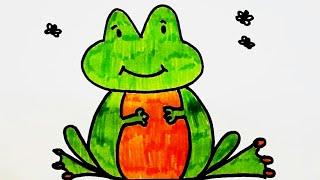 Простой поэтапный рисунок. Видео урок как нарисовать лягушку. Картинка раскраска для детей.