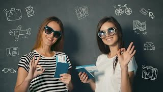 Happy Women With Travel Tickets  Stock Video